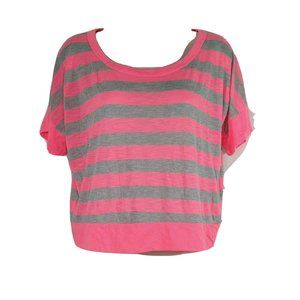 Body Central Top Shirt Women Size M Hot Pink Gray